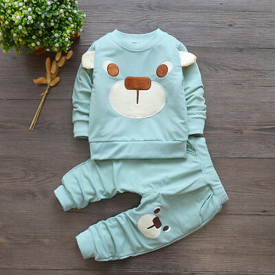 baby boys girls outfits tracksuit pullover top+pants Kids boy clothes set  bear 3
