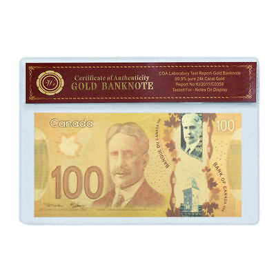 24KT Gold plated $100 Canada bill banknote - FREE SHIPPING&FAST - ON SALE 4