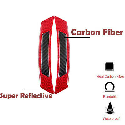 2PCS Red Reflective Carbon Fiber Car Side Door Edge Protector Guard Sticker 3
