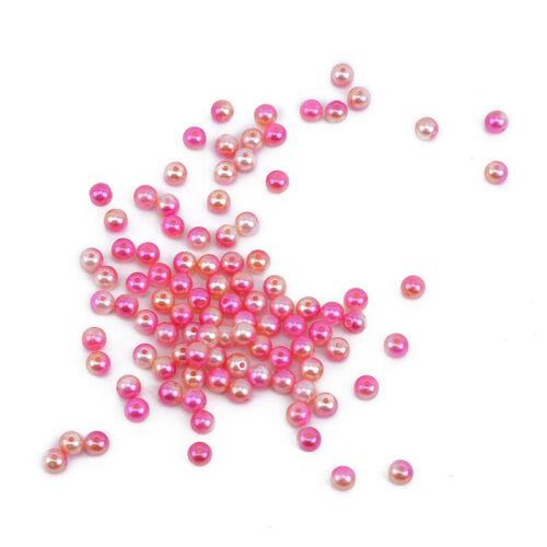 Round Imitation Plastic ABS Pearl Beads Needlework Craft Set Scrapbook Decor 6A 3