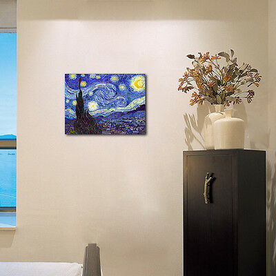 Starry Night by Van Gogh Fine Art Print Painting Reproduction on Canvas Framed 5