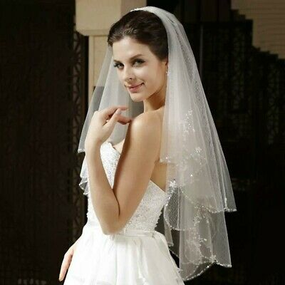 Bridal Wedding White Veil 2 Tier Handmade Elbow Beaded With Comb Soft Tulle 5