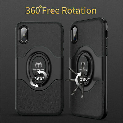For iPhone XS Max XR X 7 8 Plus Ring Stand Shockproof Hybrid Hard Case Cover 3