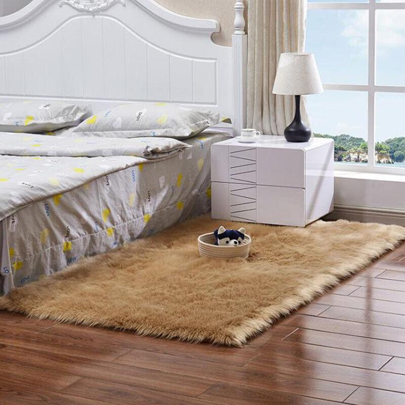 Plüsch Weich Teppich Schlafzimmer Wohnzimmer Couchtisch Zottel Kunstfell Matte