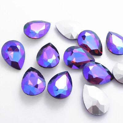 Wholesale Color AB10pcs Crystal Glass rhinestones Teardrop beads 14mm~18mm 4