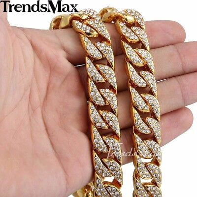 Jewelry Set Mens Yellow Gold Filled Curb Link Necklace Bracelet Chain Hip Hop 7