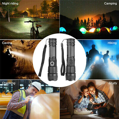 High Power 900000Lumens XHP50 Zoom Flashlight LED Rechargeable Torch Headlamp 12