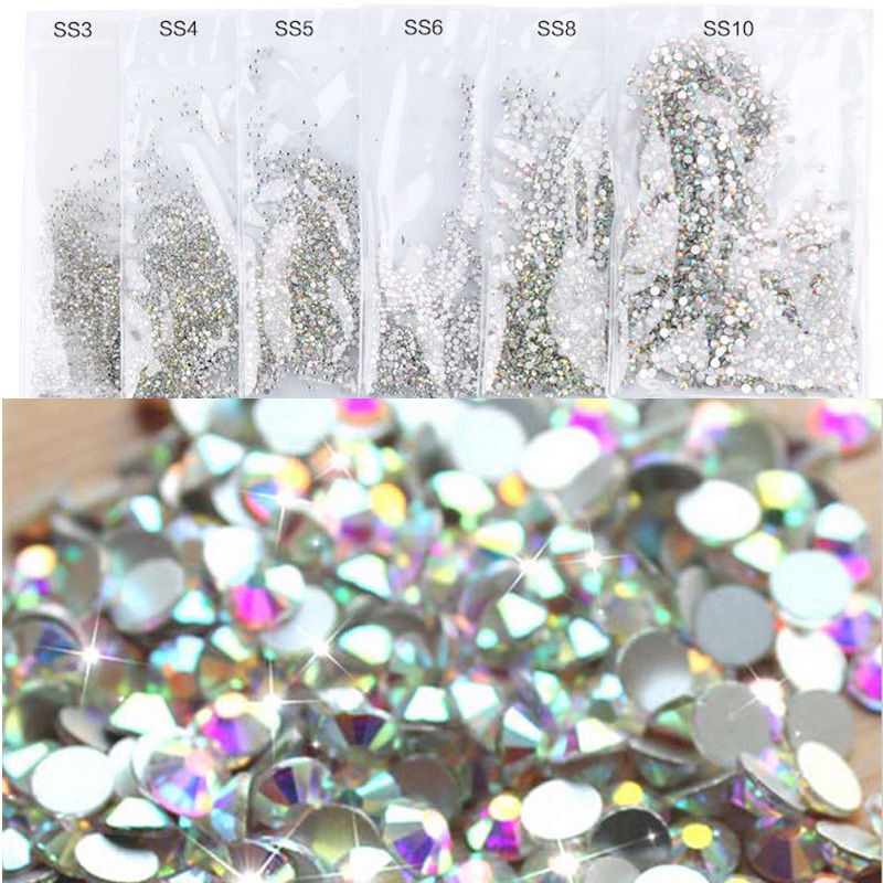 edc73d2eb4 LOTS FLAT BACK Rainbow Nail Art Rhinestones Glitter Diamond Gems 3D Tips DIY