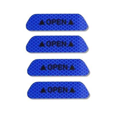 4x Super Blue Car Door Open Sticker Reflective Tape Safety Warning Decal