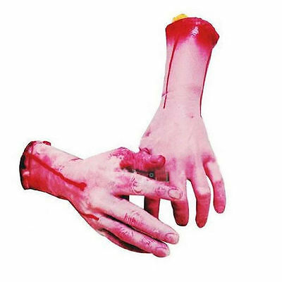 1Pair Bloody Horror Scary Halloween Props Fake Severed Arm Hand Haunted Decor US 5