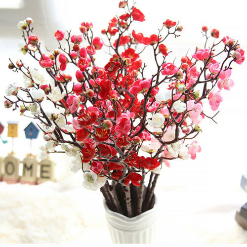 1Pcs Artificial Cherry Plum Peach Blossom Branch Silk Multi-color Flower Jian
