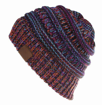 Women's Ponytail Beanie Ribbed Winter Messy Bun Cable Warm Soft Knit Hat AU 11