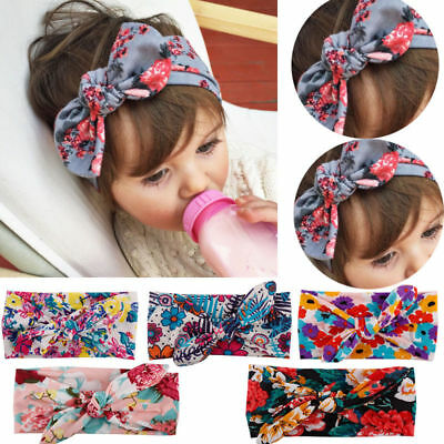Baby Toddler Girls Kids Bunny Rabbit Bow Knot Turban Headband Hair Band Headwrap 8