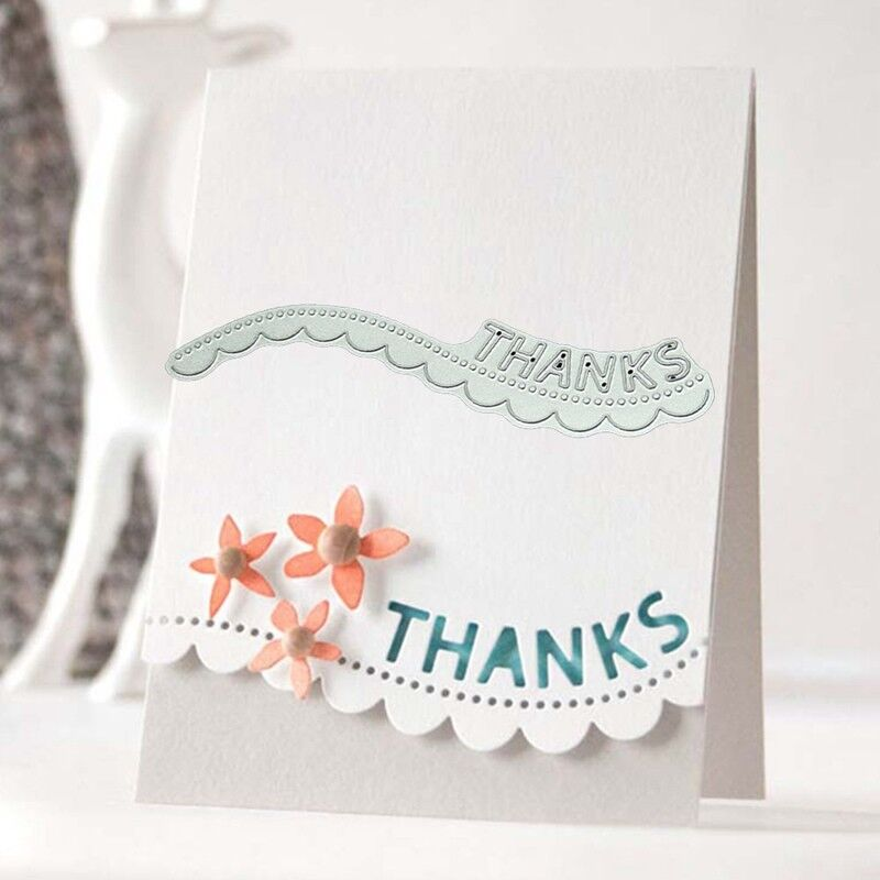 Thanks Wavy Lace Metal Cutting Dies Stencil Scrapbooking Card Embossing    C 4