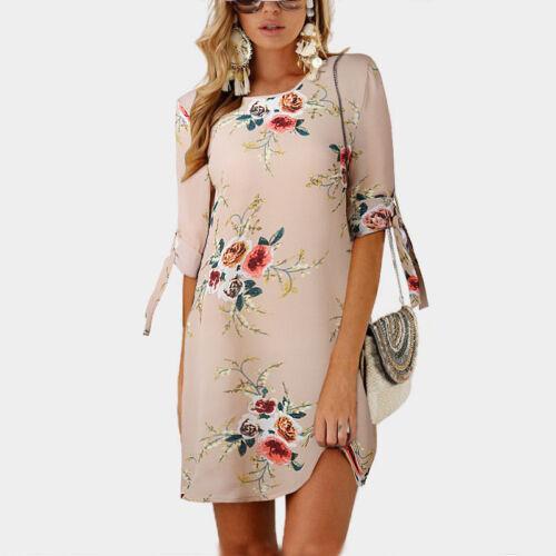 Women Floral Printed Long Tops Blouse Summer Beach Tunic Dress Plus Size 6-22 4
