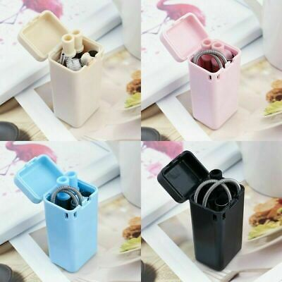 Reusable Metal Folding Collapsible Drinking Straw Portable + Cleaning Brush Set 9