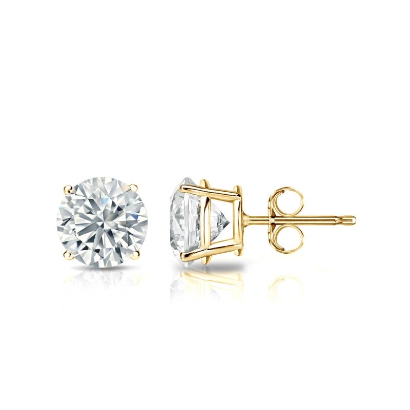 2 Ct Diamond Stud Earrings Round Diamond Solitaire Earrings 14k Yellow Gold 2