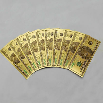 10pcs US$100 dollar 24k Gold Foil Golden USD Paper Money Banknotes Crafts Gifts