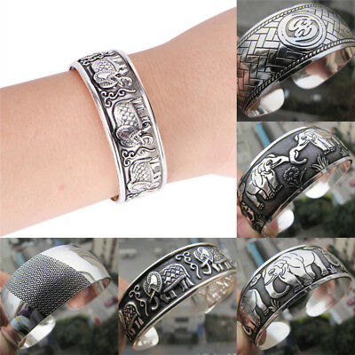 Antique Tibétain Argent Plaqué Tibet Totem Bracelet Manchette  Xg