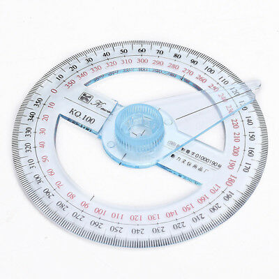 Circular Plastic 360 Degree Pointer Protractor Ruler School Office Tool Supplies 4
