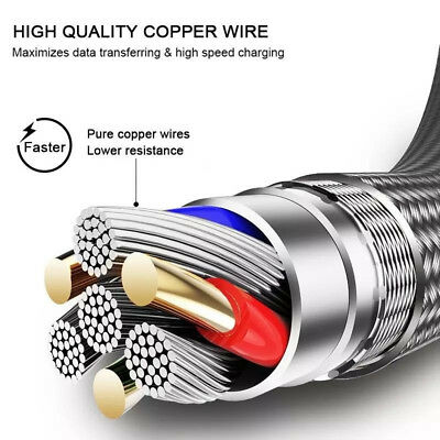 UK Heavy Duty Metal Braided Lightning USB Fast Charger Cable 1~3M For iPhone X 6 9