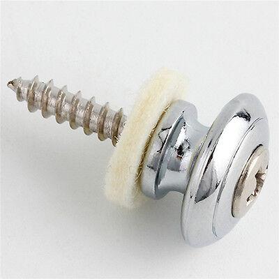 2 Pcs Guitar Strap Buttons Strap Locks Straplocks Mushrooms Heads Chrome 4