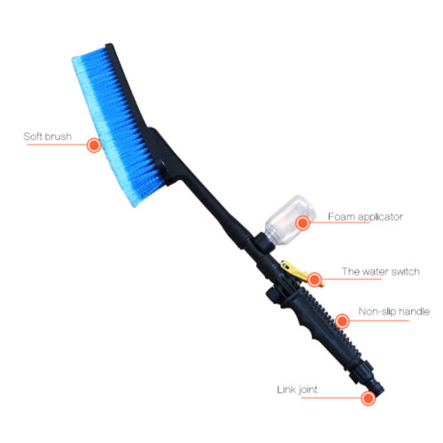 Water Fed Car Wash Cleaning Soft Brush Attach To Hose Pipe with Control Tap Tool 6
