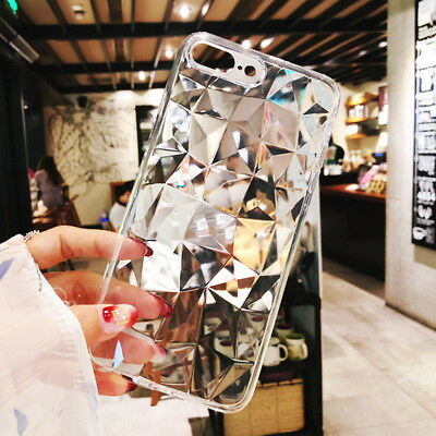 For iPhone X 8 6s 7 Plus 3D Diamond Bling Crystal Soft Rubber Clear Case Cover 3