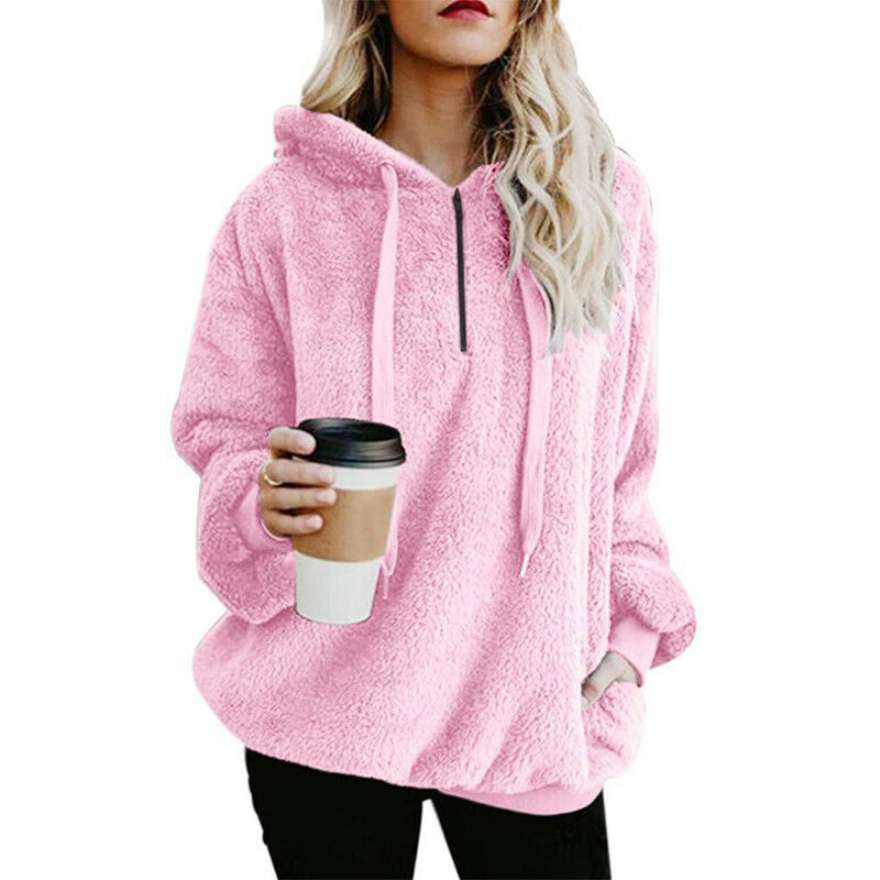 Womens Warm Fleece Hooded Sweatshrit Hoodies Winter Jumper Tops Coat Plus Size 6