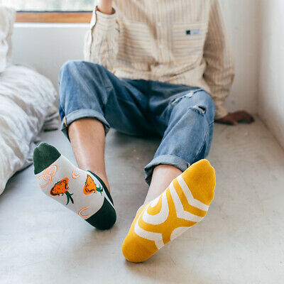 Mens Cotton Ankle Socks Novelty Animal Fruit Funny Asymmetric Unisex Dress Socks 2