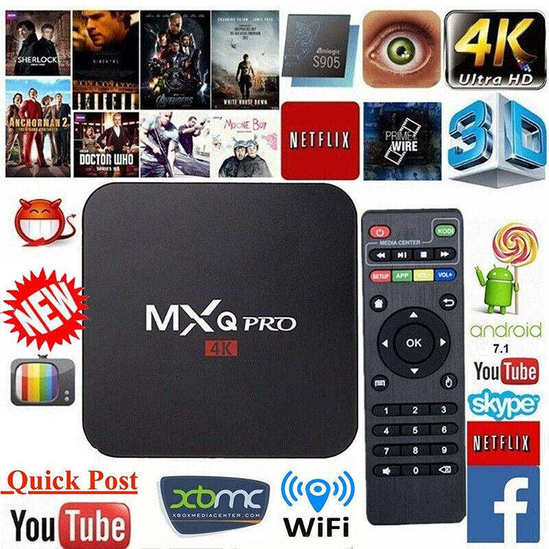 TV Box Android 7.1 Quad Core Smart 1080P HDMI WIFI KODI 17.6 MXQ Pro 4K 3D 64Bit 4
