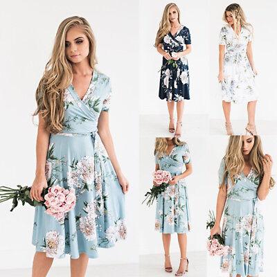 AU Women's Chiffon Long Maxi Dresses Evening Party Beach Dress Floral Sundress