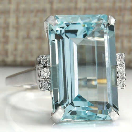 925 Sterling Silver Rings Aquamarine Flower Drop Rings Wedding Jewelry Size#6-10 10