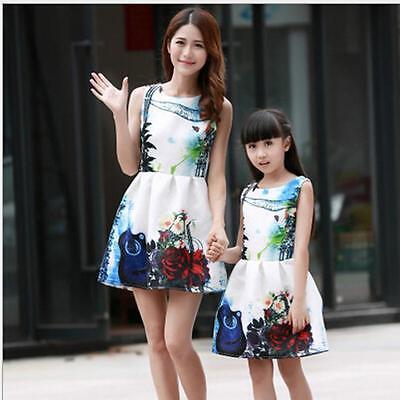 614a8e85f6 ... New Mother Daughter Matching Dresses Summer Women Dress Girl Clothes  Outfit 2016 2