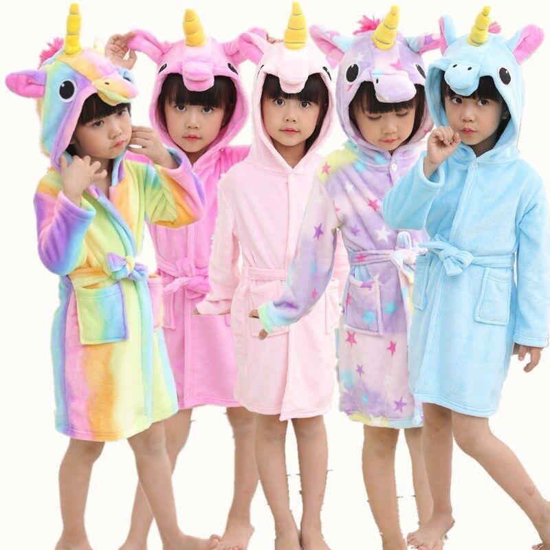 90cf55b63115e Kids Girls Boy Bathrobe Hooded Unicorn Dress Up Costume Fleece Pyjamas  Nightwear 2 2 of 12 ...