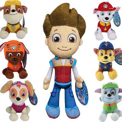 """Plush Pup Pals 8"""" Paw Patrol Skye/zuma Rocky Soft Toys Nickelodeon Dog Set Gift 12"""