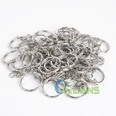 200Pc DIY 25mm Polished Silver Keyring Keychain Split Ring Short Chain Key Rings 7