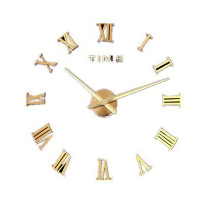 DIY 3D Wall Clock Roman Numerals Large Mirrors Surface Luxury Big Art Clock 9