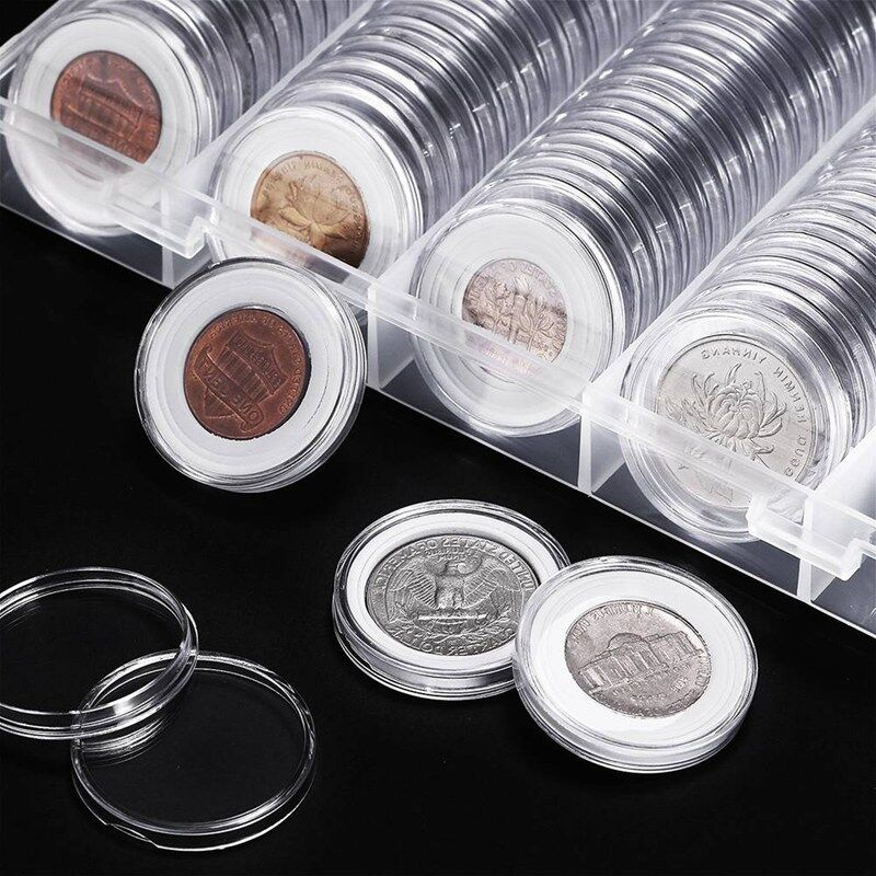 100 Pieces Coin Cases Capsules Holder Applied Clear Plastic Round Storage Box 2