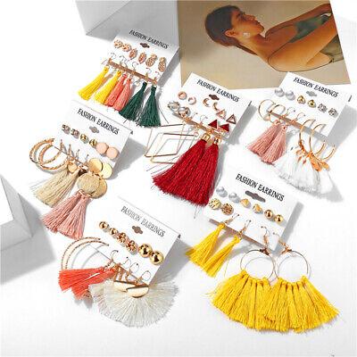 15Pairs Korean Style Earrings Set Tassel Crystal Ear Stud Dangle Hook Chic Women 12