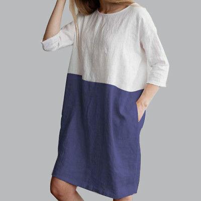 AU Baggy Womens Casual Short Sleeve Dresses Cotton Linen Ladies Tunic Tops Dress 6