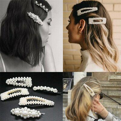 Pearl Acrylic Crystal Hair Clip Slide Hair Pin Barrette Bridal Hair Accessories 8