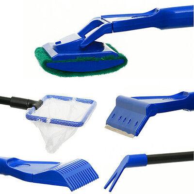 5in1 Cleaning Tools Kit Set Fish Tank Aquarium Algae Scrubber Scraper Glass New 5