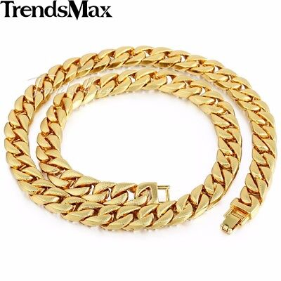 Jewelry Set Mens Yellow Gold Filled Curb Link Necklace Bracelet Chain Hip Hop 6