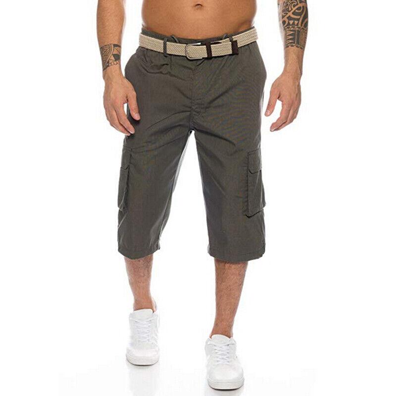 Mens 3/4 Length Cargo Coombat Pants Casual Loose Elastic Waist Shorts Trousers 8