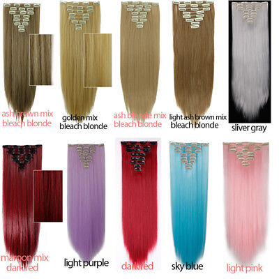 ON CLEARANCE Clip in 100% Real Natural as Human Hair Extensions 8 Pcs  Long Wavy 9