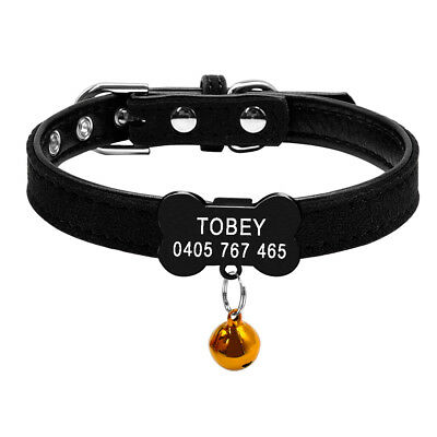 Personalized Cat Dog Collar Bone Shape Black Tags Engraved Name Phone with Bell 9