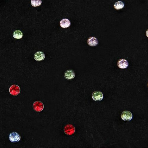 Stainless Steel 24/60PCS Crystal Nose Ring Bone Stud Body Piercing Jewelry New 4