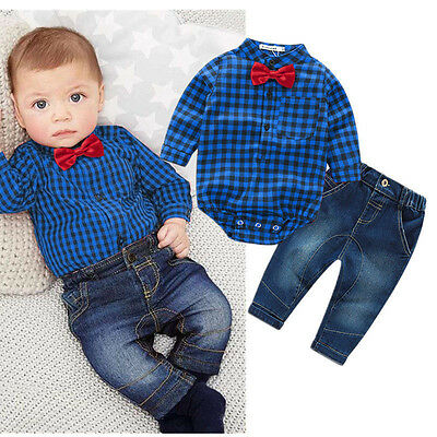 2PCS Newborn Baby Boy Clothes Plaid Romper Bodysuit Tops+Jeans Pants Outfits Set