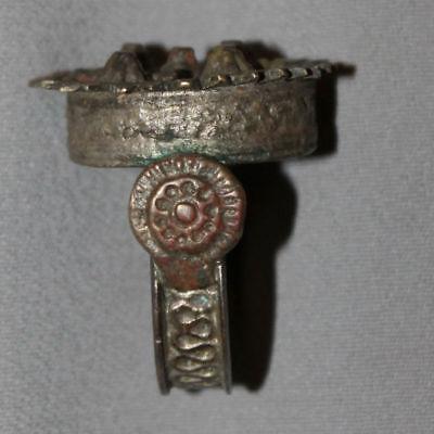 Antique Greek Folk Hand Made Medieval Bronze Ring 6